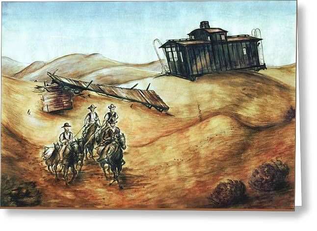 Cowboys And Canyons - Western Art Greeting Card by Art America Gallery Peter Potter
