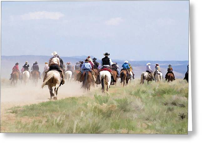 Cowboys And Cowgirls Riding Horses At The Sombrero Horse Drive Greeting Card