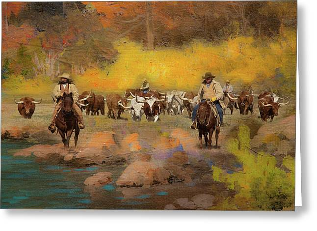 Cowboys And Longhorns Greeting Card by Toni Hopper