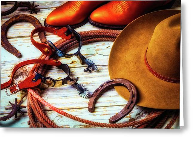 Cowboys Hat And Horeshore Greeting Card by Garry Gay