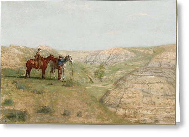 Cowboys In The Badlands Greeting Card by Thomas Cowperthwait Eakins