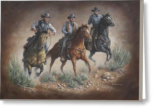 Cowboys Of Star Trek Greeting Card by Kim Lockman