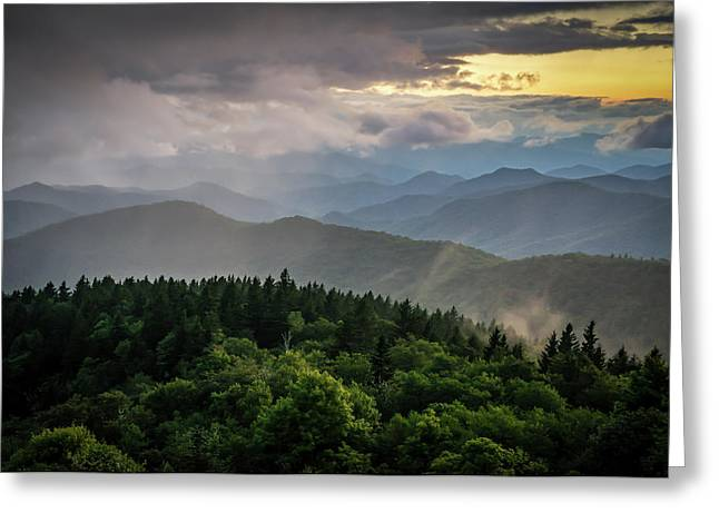 Cowee Mountain Sunset Greeting Card by Serge Skiba