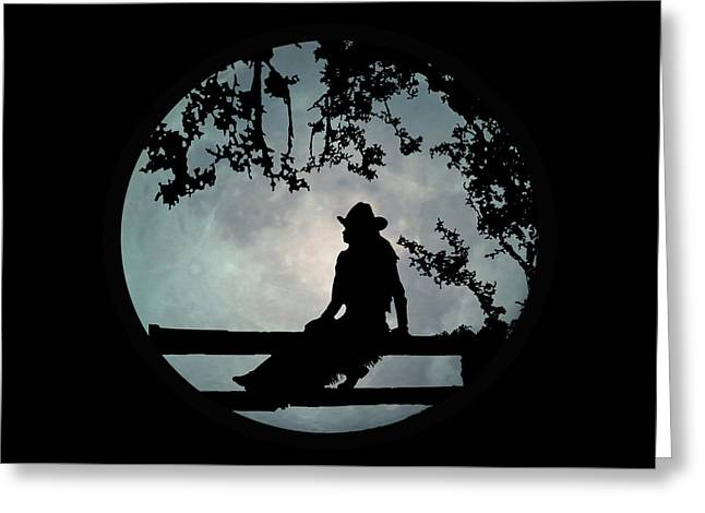 Cowgirl And Moon Greeting Card by Stephanie Laird