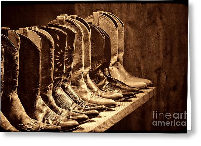 Cowgirl Boots Collection Greeting Card by American West Legend By Olivier Le Queinec