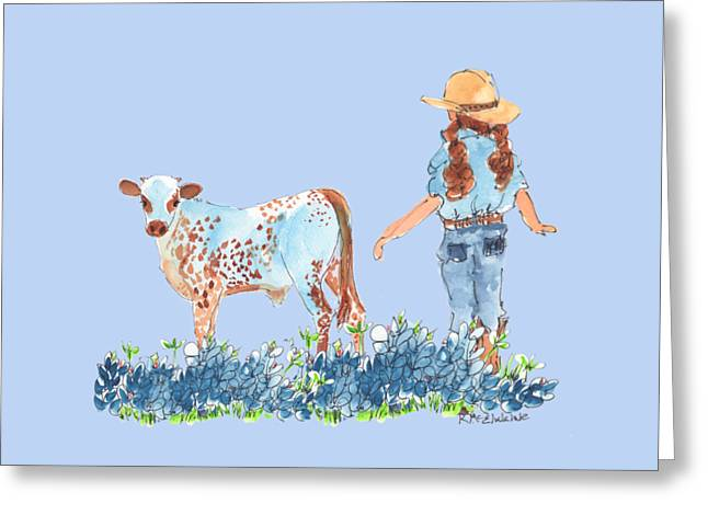 Cowgirl Calf In The Bluebonnets Pe005 Greeting Card