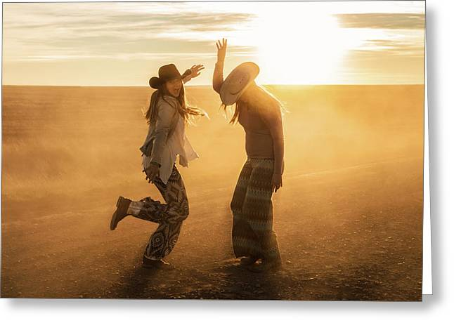 Cowgirl Dance Greeting Card by Todd Klassy