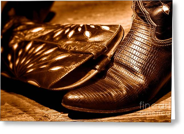 Cowgirl Gator Boots - Sepia Greeting Card