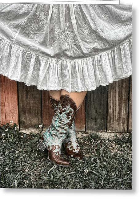 Cowgirl Skirt With Boots Greeting Card