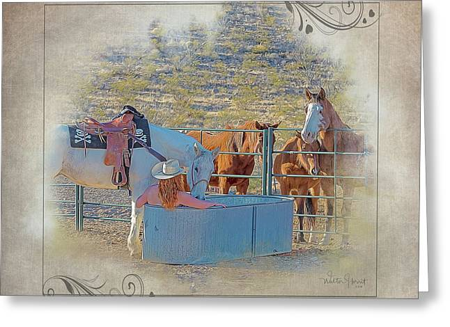 Cowgirl Spa 5p Of 6 Greeting Card