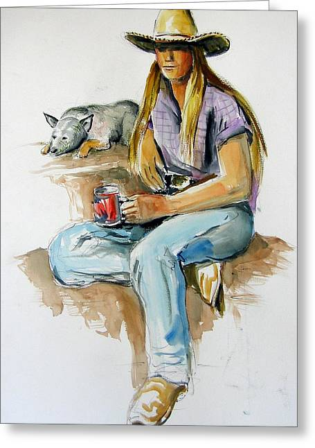 Cowgirl With Dog Greeting Card by Murray Keshner