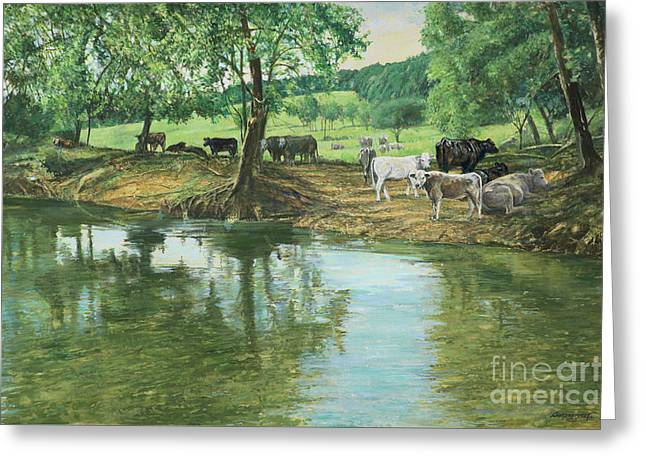 Cows And Creek Greeting Card