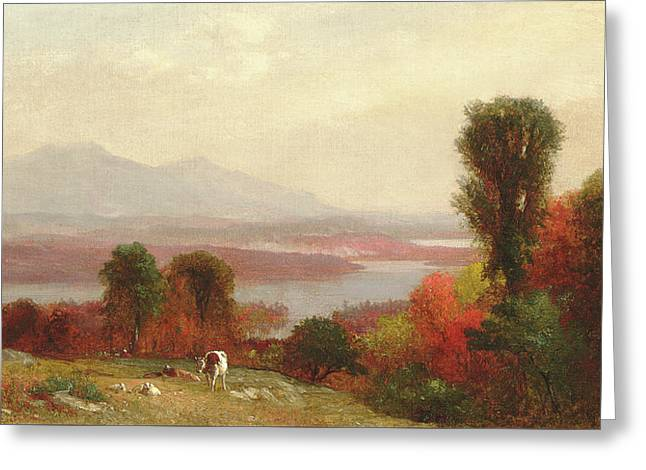 Cows And Sheep Grazing In An Autumn River Landscape Greeting Card