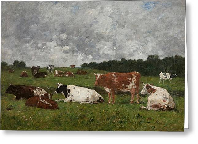 Cows At The Pasture Greeting Card by Eugene Louis Boudin