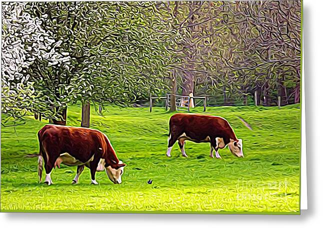 Cows Grazing In A Field Expressionist Effect Greeting Card