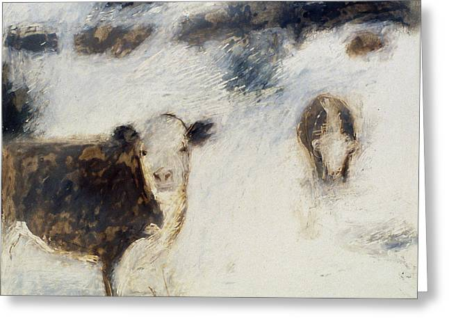 Cows In Snow Greeting Card by Ruth Sharton