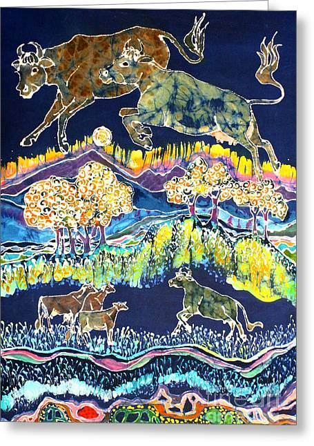 Cows Jumping Over The Moon Greeting Card by Carol  Law Conklin