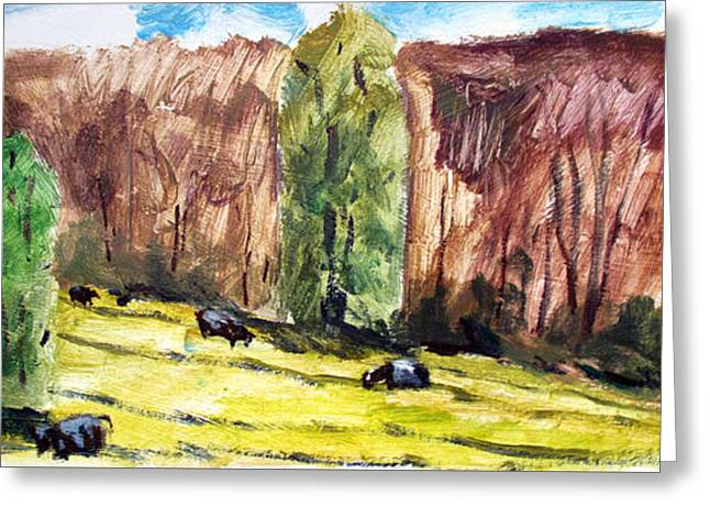 Cows Leaving The Woods All Works In This Format Are Framed. Greeting Card