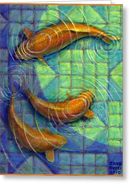 Coy Koi Greeting Card by Jane Bucci