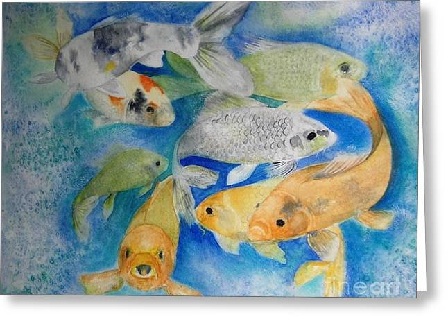 Coy Koi Greeting Card by Vivian  Mosley