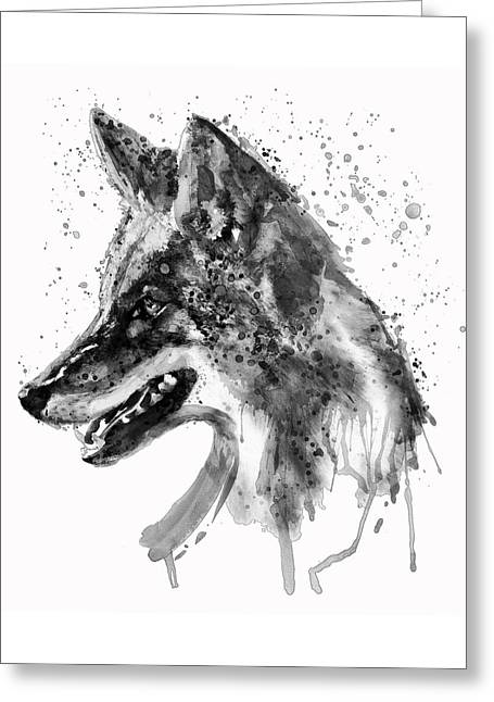 Coyote Head Black And White Greeting Card by Marian Voicu