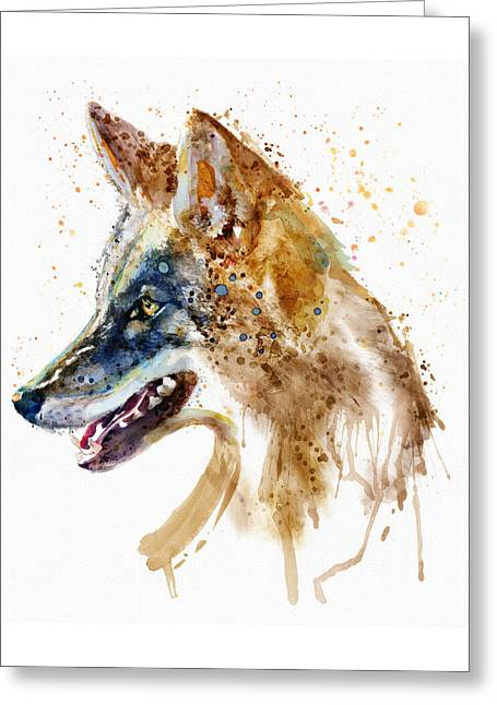Coyote Head Greeting Card by Marian Voicu
