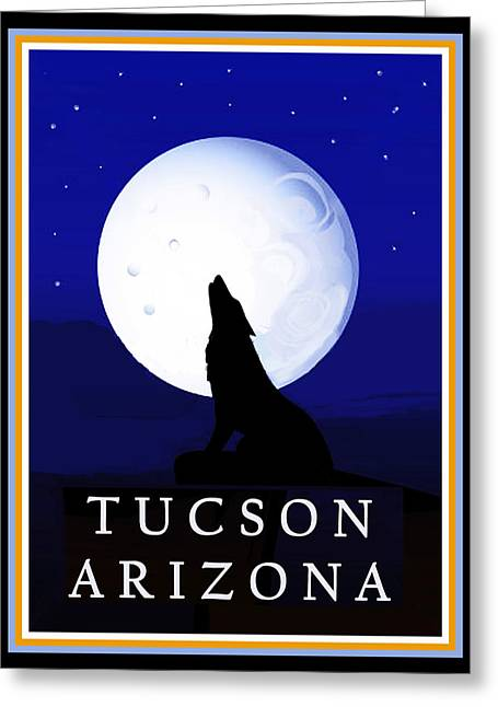Greeting Card featuring the digital art Coyote Moon - Tucson, Arizona by Vagabond Folk Art - Virginia Vivier