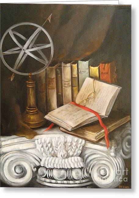 Traveling By Books Greeting Card by Patricia Lang