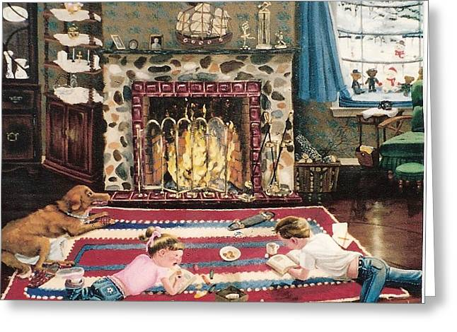 Greeting Card featuring the painting Cozy Fire by Susan Roberts