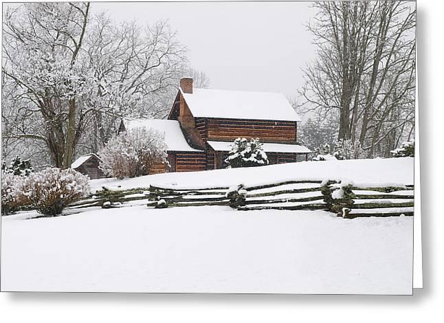 Cozy Snow Cabin Greeting Card by J K York