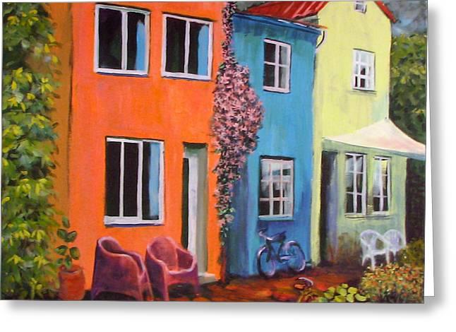 Cozy Street Greeting Card by Art Nomad Sandra  Hansen