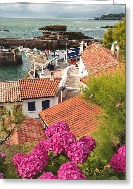 cozy tourist town on the Bay of Biscay Greeting Card