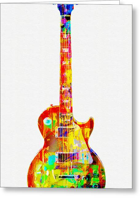 Cplorful Gibson Les Paul Greeting Card