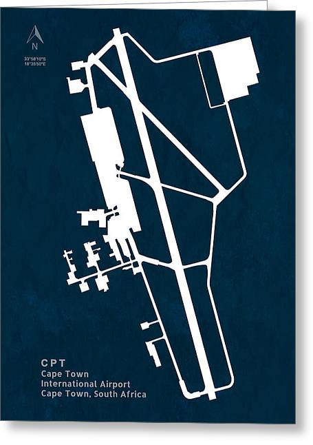Cpt Cape Town International Airport Silhouette In Blue Greeting Card