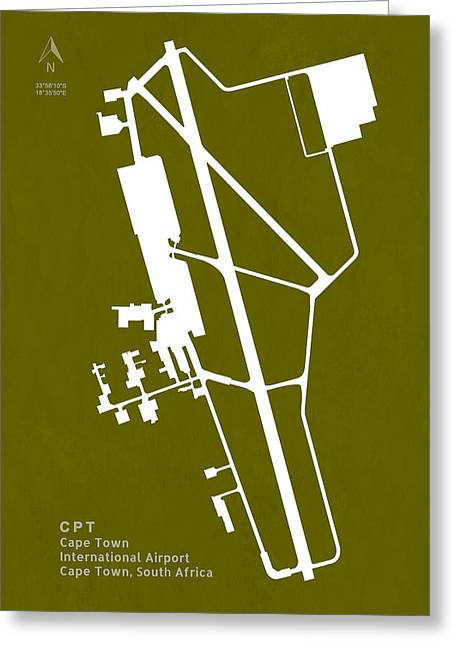 Cpt Cape Town International Airport Silhouette In Olive Greeting Card