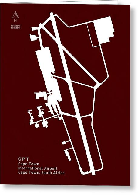 Cpt Cape Town International Airport Silhouette In Red Greeting Card