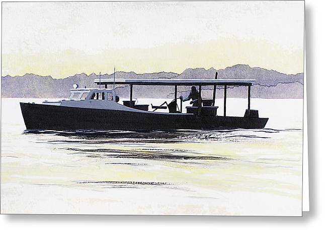 Greeting Card featuring the painting Crab Boat Slick Calm Day Chesapeake Bay Maryland by G Linsenmayer