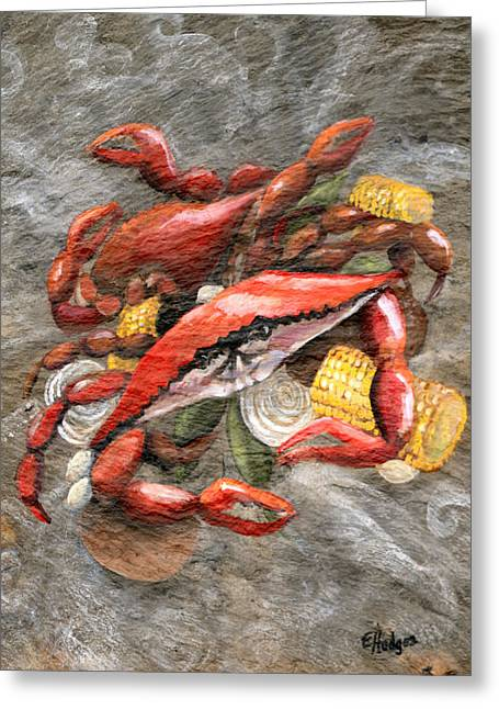 Crab Boil Greeting Card by Elaine Hodges