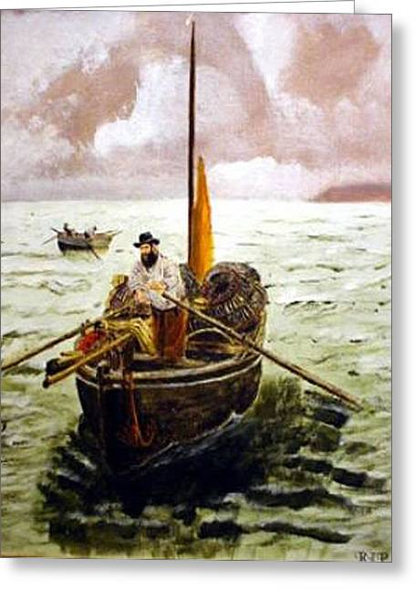 Greeting Card featuring the painting Crab Fisherman by Richard Le Page