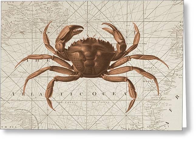 Crab Sea Chart Design Greeting Card