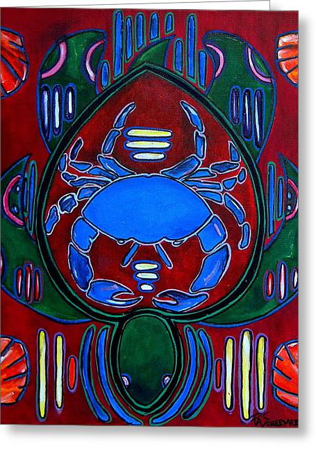 Mola Greeting Cards - Crab Turtle Mola Greeting Card by Patti Schermerhorn