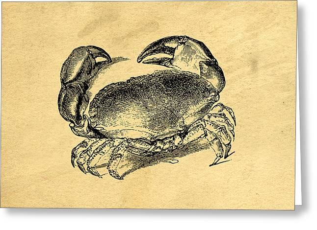 Crab Vintage Greeting Card by Edward Fielding
