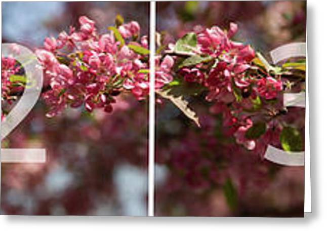 Crabapple In Spring Panoramic Map Greeting Card