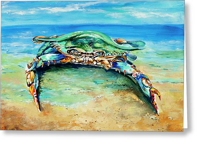 Crabby At The Beach Greeting Card by Dianne Parks