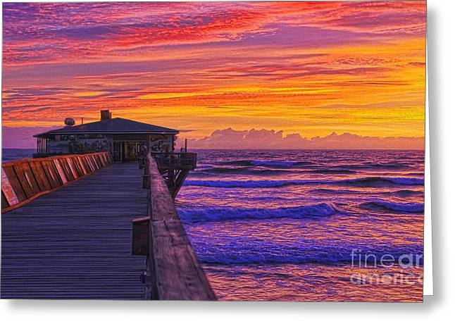 Crabby Joe's Sunday Sunrise Greeting Card by Deborah Benoit