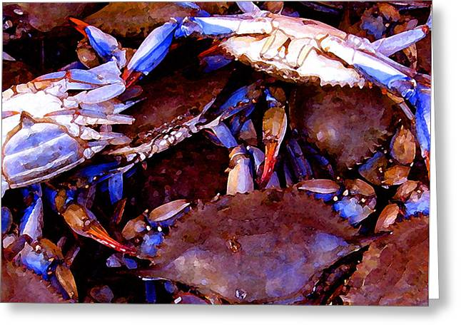 Greeting Card featuring the digital art Crabs At The Market by Timothy Bulone