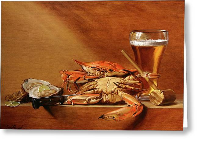 Crabs, Oysters And Beer Greeting Card