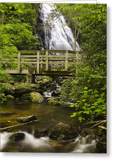 Crabtree Falls And Bridge Greeting Card by Andrew Soundarajan