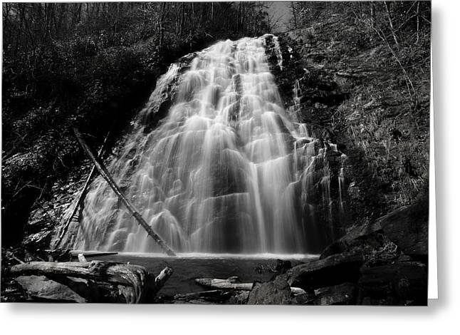 Crabtree Falls In Black And White Greeting Card by Carol R Montoya
