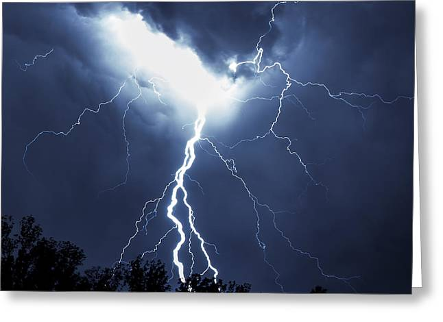 Lightning Landscapes Greeting Cards - Crack the Sky Greeting Card by Brian Young